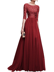 Round-Neck-Patchwork-Plain-Evening-Dress