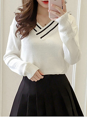 V-Neck  Contrast Piping  Plain  Long Sleeve Sweaters Pullover