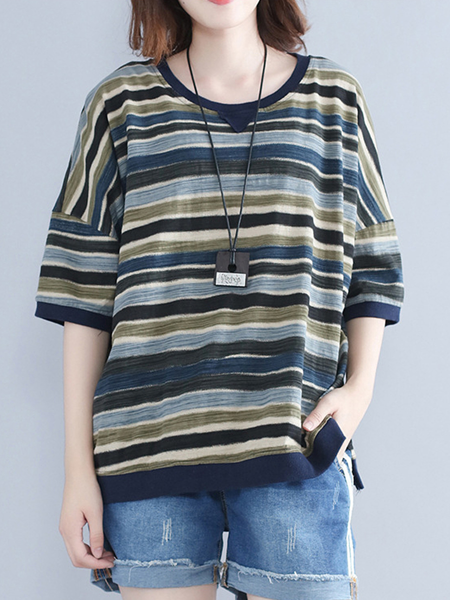 Loose Round Neck  Striped Blouse