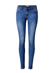 Light Wash Whiskered Slim-Leg Mid-Rise Jean