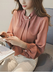 Band Collar Plain Chiffon Blouse