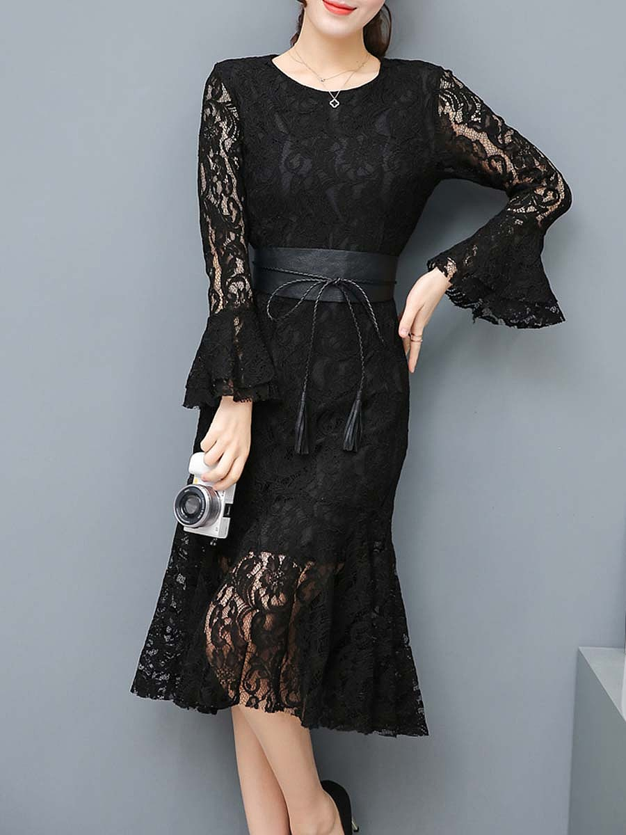 Women Lace Hollow Out Belt Solid Mermaid Bodycon Dress - fashionMia.com