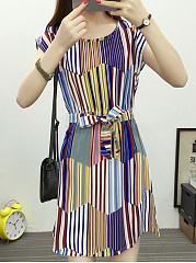 Crew Neck  Belt Belt Loops Contrast Piping  Striped Skater Dress