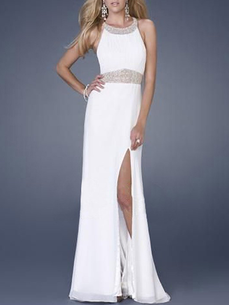 High Slit Sequin X-Back Round Neck Chiffon Maxi Dress