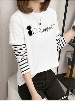 Autumn Spring  Women  Letters  Long Sleeve Long Sleeve T-Shirts