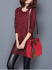 Color Block Long Tassel Shoulder Bag