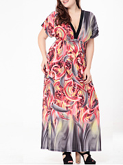 Stunning Deep V-Neck Printed Empire Plus Size Maxi Dress