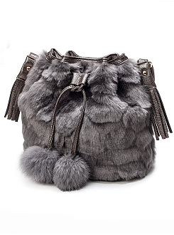 Soft Faux Fur Drawstring Tassel Decoration Shoulder Bag