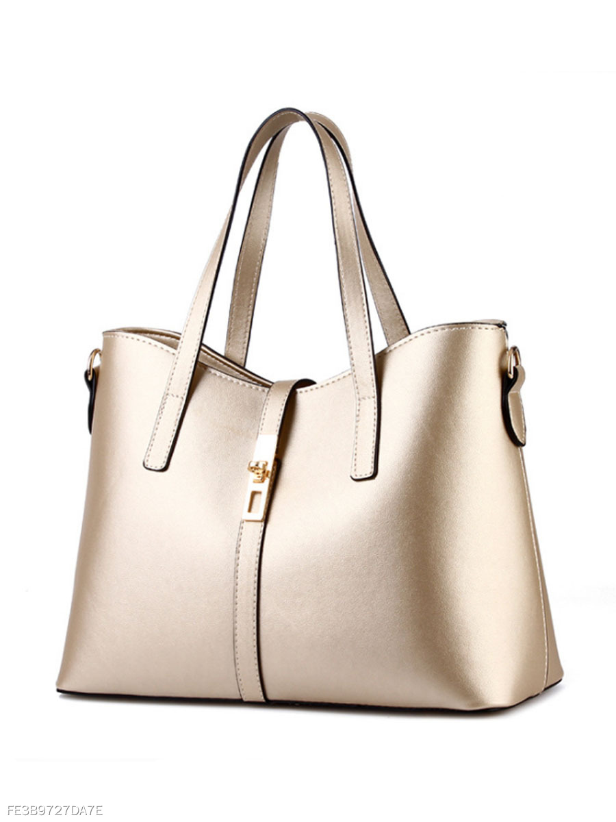Gold Pu Classic Shoulder Bag