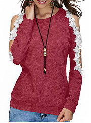 Autumn Spring  Women  Open Shoulder  Decorative Lace  Plain Long Sleeve T-Shirts