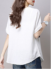 Spring Summer  Cotton/Linen  Women  Round Neck  Patchwork  Striped  Short Sleeve Short Sleeve T-Shirts