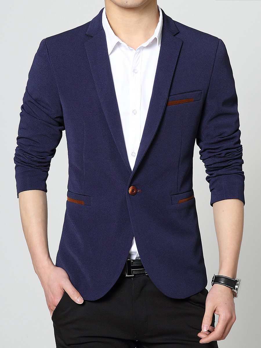 Men Solid Notch Lapel Single Button Blazer