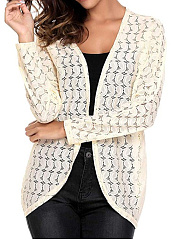Hollow Out Lace  Long Sleeve Cardigans