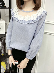 Autumn Spring  Polyester  Women  Round Neck  Flounce Patchwork  Striped  Long Sleeve Blouses