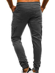 Drawstring Elastic Waist Flap Pocket  Plain  Pegged  Mid-Rise Men's Casual Pants