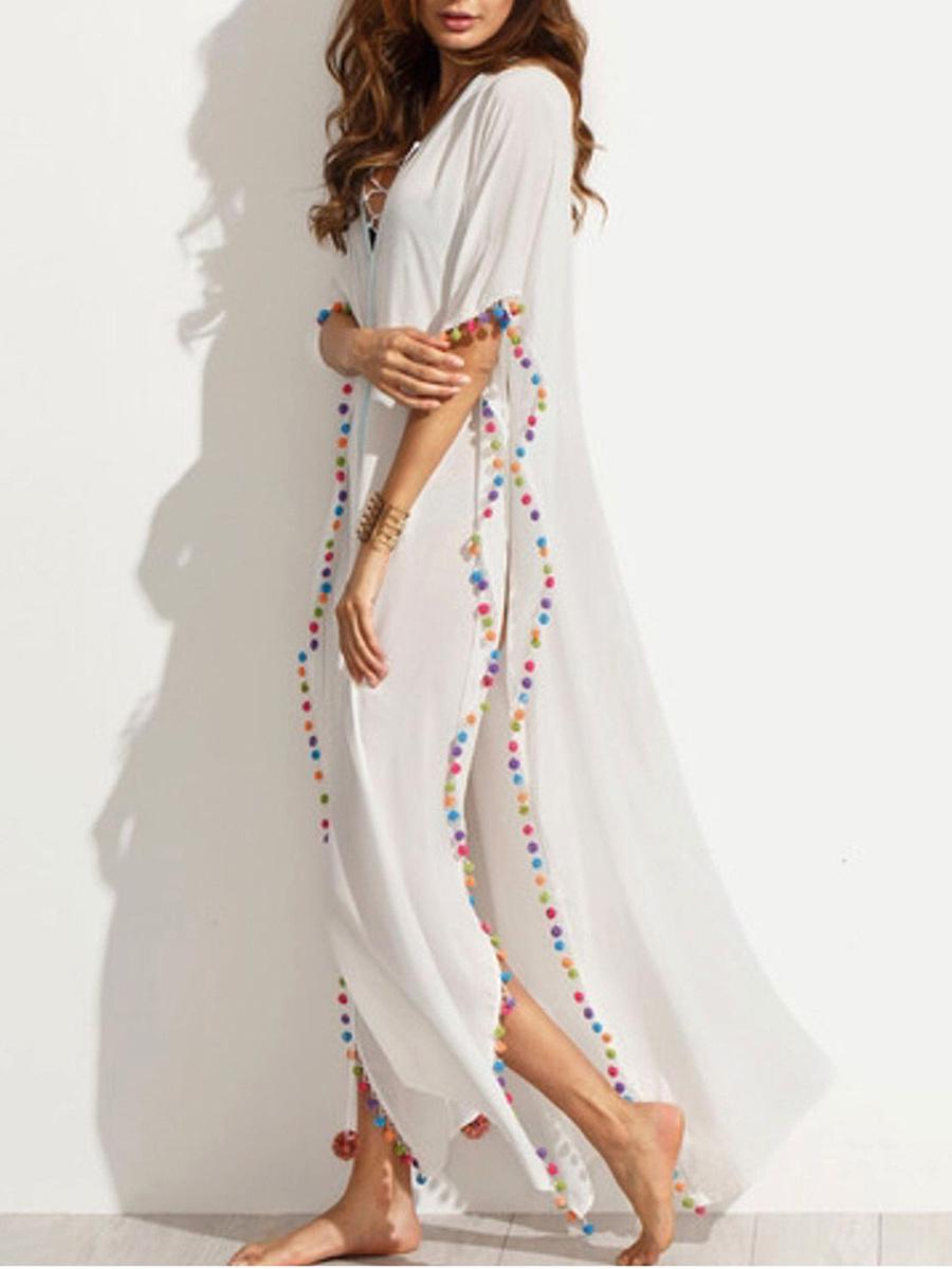 V-Neck Lace-Up Pompom-Trim High Slit Maxi Dress