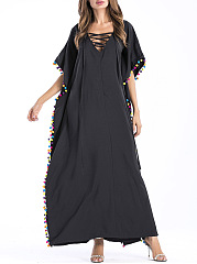 V-Neck Lace-Up Pompom-Trim High Slit Maxi Dress