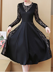 Round Neck  Patchwork See-Through  Lace Skater Dress