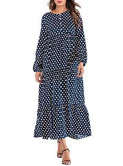 Round Neck  Polka Dot Puff Sleeve Maxi Dress