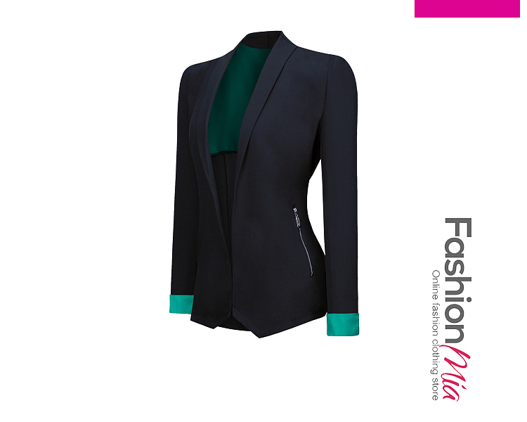 gender:women, hooded:no, thickness:regular, brand_name:fashionmia, outerwear_type:blazer, style:office outfit, material:polyester, collar&neckline:narrow notch lapel, sleeve_type:roll-up sleeve, sleeve:long sleeve, embellishment:asymmetric hem,contrast trim,zips, how_to_wash:cold gentle machine wash, supplementary_matters:all dimensions are measured manually with a deviation of 2 to 4cm., occasion:formal,office, season:autumn,spring,winter, package_included:top*1, waistbustsleeve lengthshoulderlength