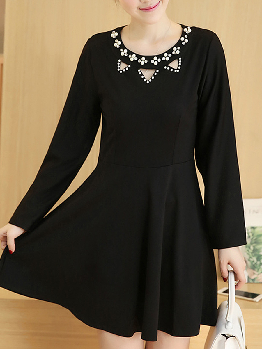 Round Neck Beading Cutout Plain Skater Dress
