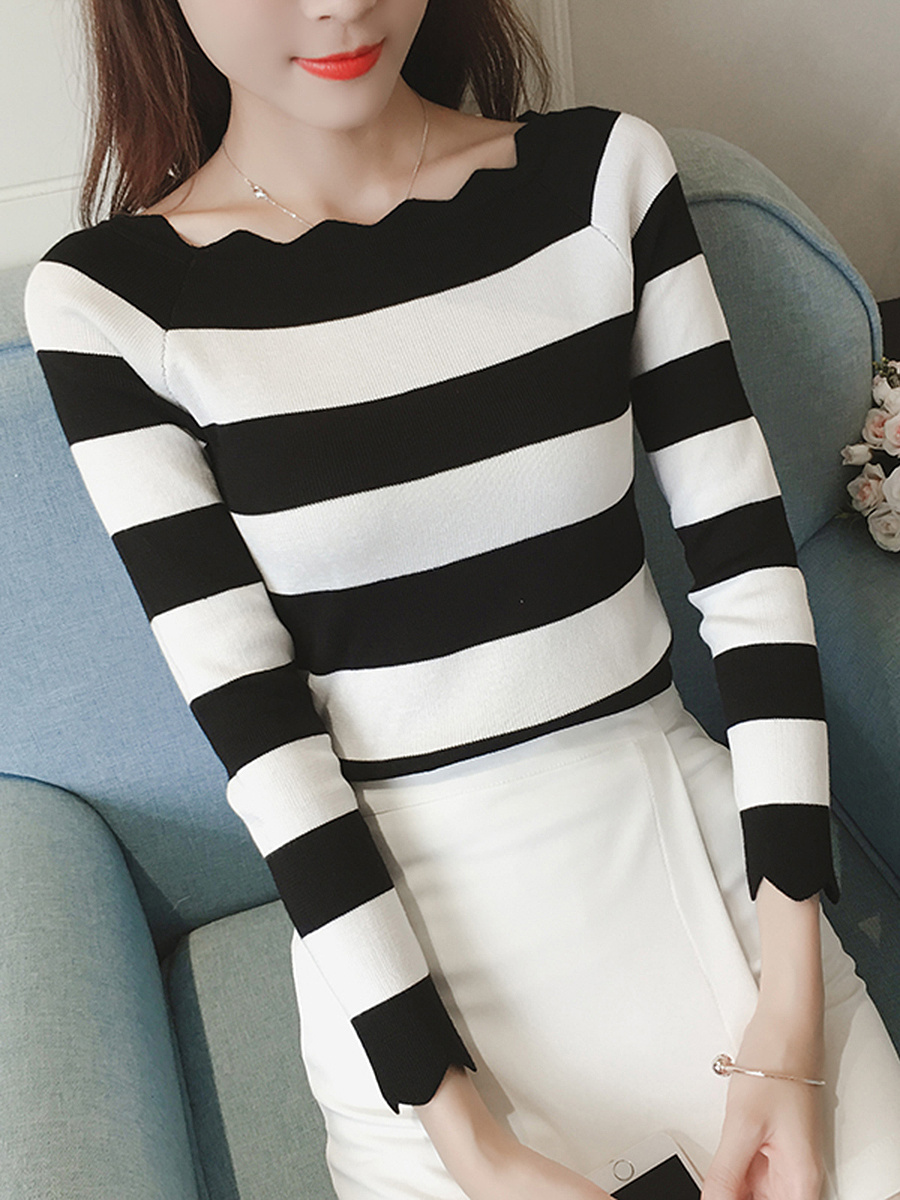 Asymmetric Neck  Color Block Long Sleeve T-Shirt