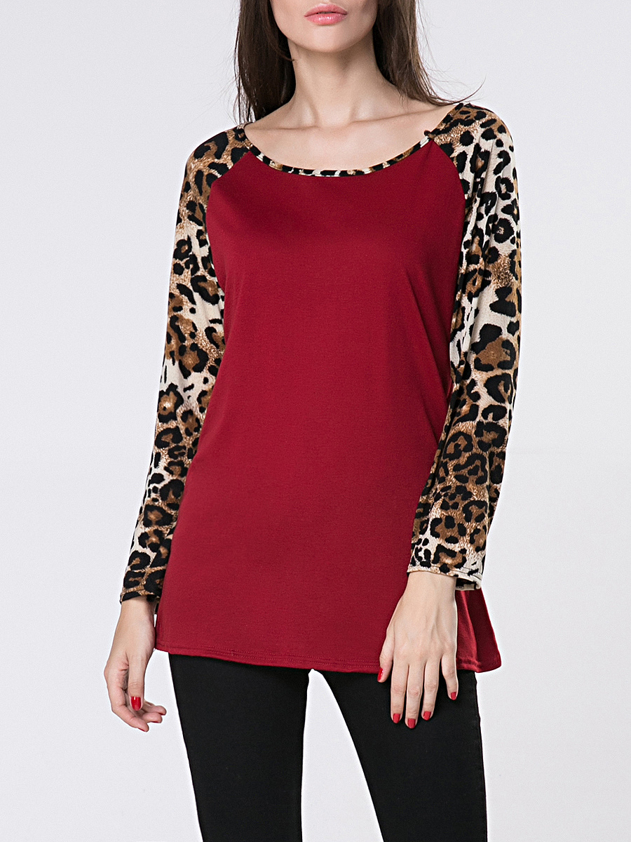Round Neck Leopard Printed Patchwork Long Sleeve T-Shirt