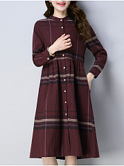 Band Collar  Single Breasted  Plaid Skater Dress