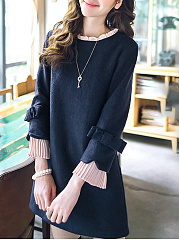 Round Neck  Patchwork  Color Block  Bell Sleeve Shift Dress