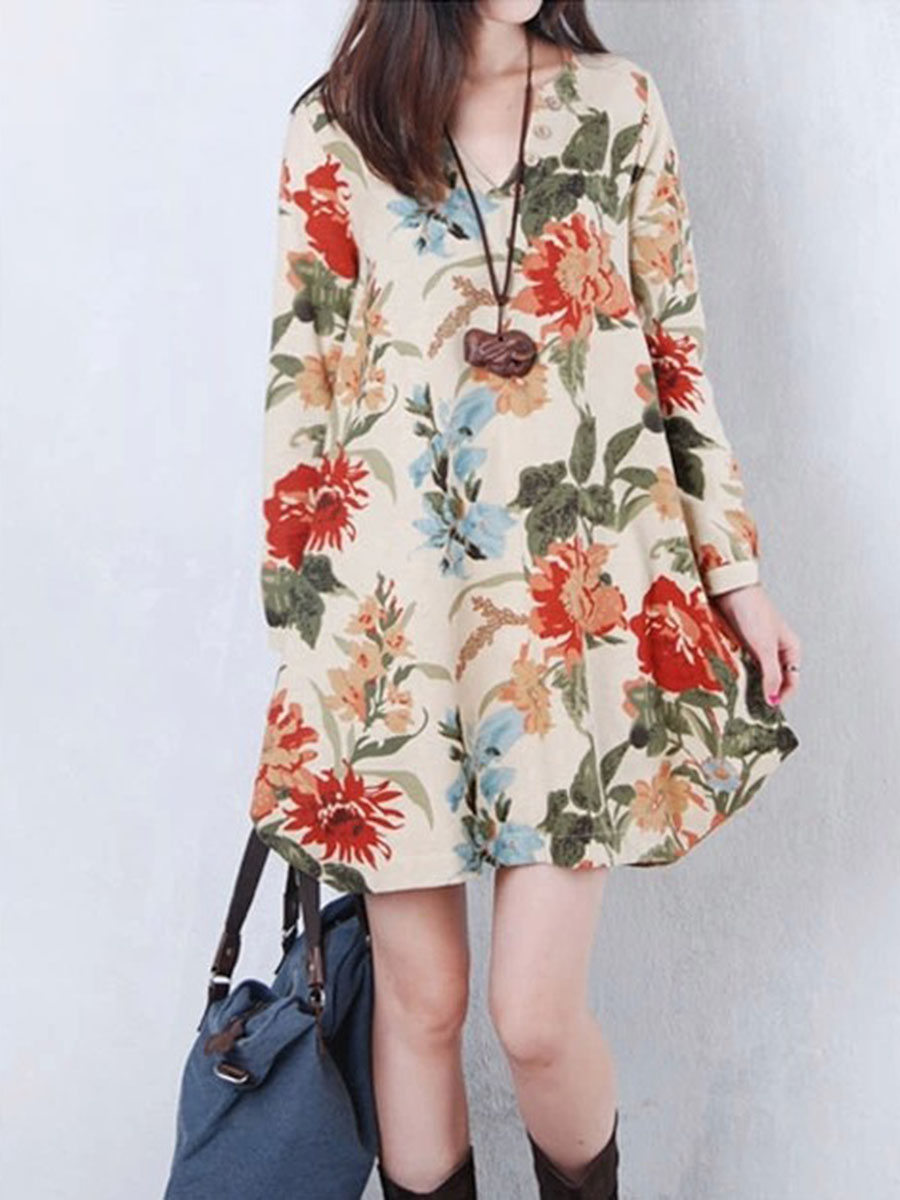 floral casual autumn spring shift V-Neck  Floral Long Sleeve Mini Shift Dress