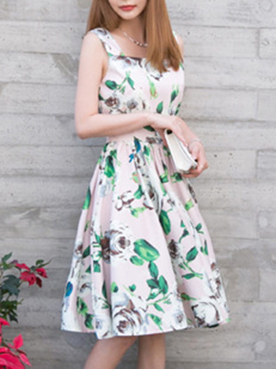 Charming Round Neck Floral Printed Sleeveless Skater Dress