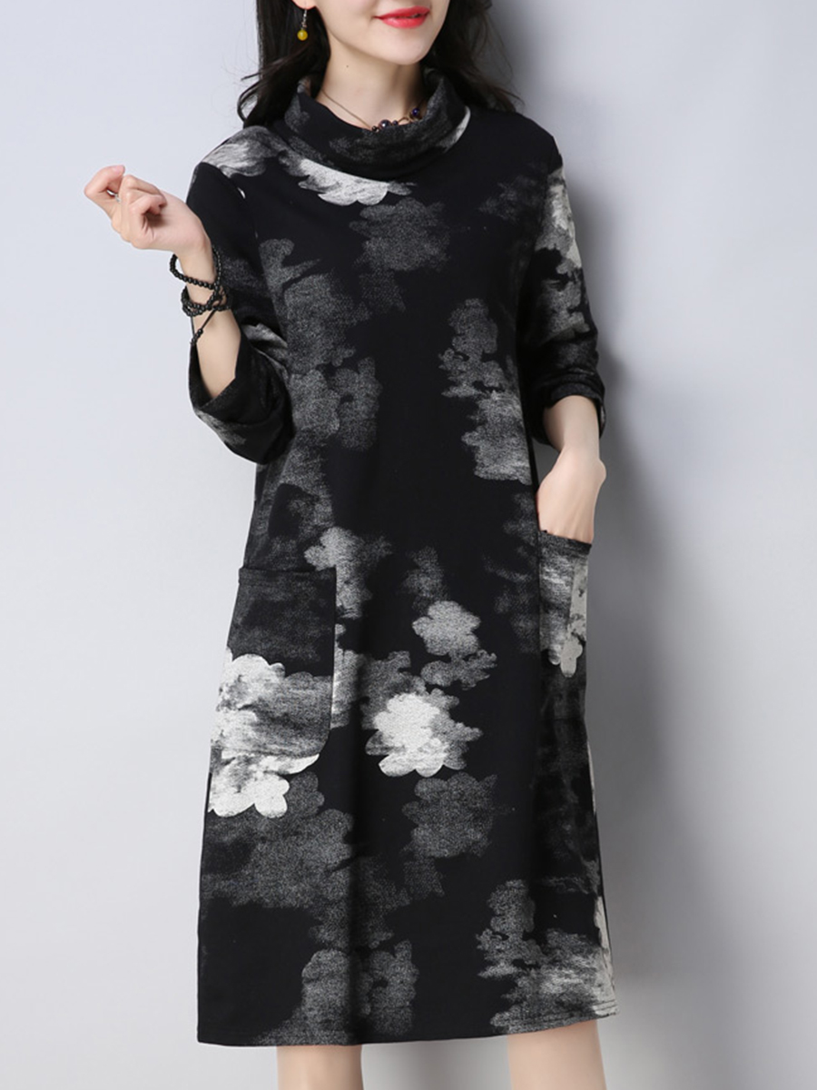 printed shift casual autumn winter Cowl Neck  Printed  Cotton/Linen Shift Dress