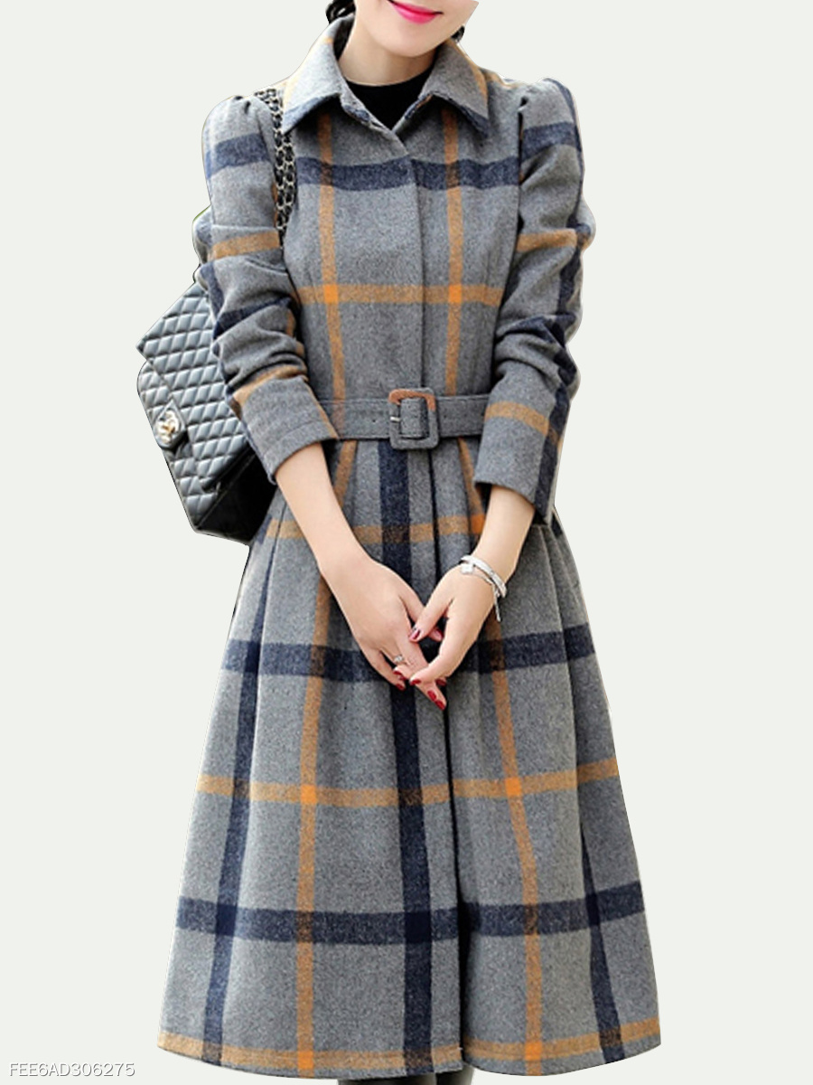 Fold-Over Collar Belt Plaid Long Sleeve Coat