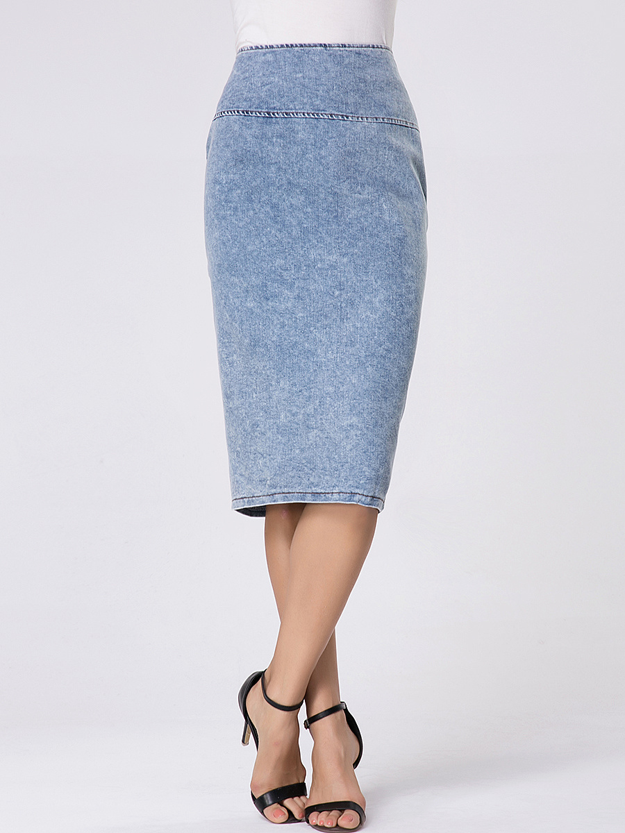 Zips Split Straight High-rise Denim Midi Skirt