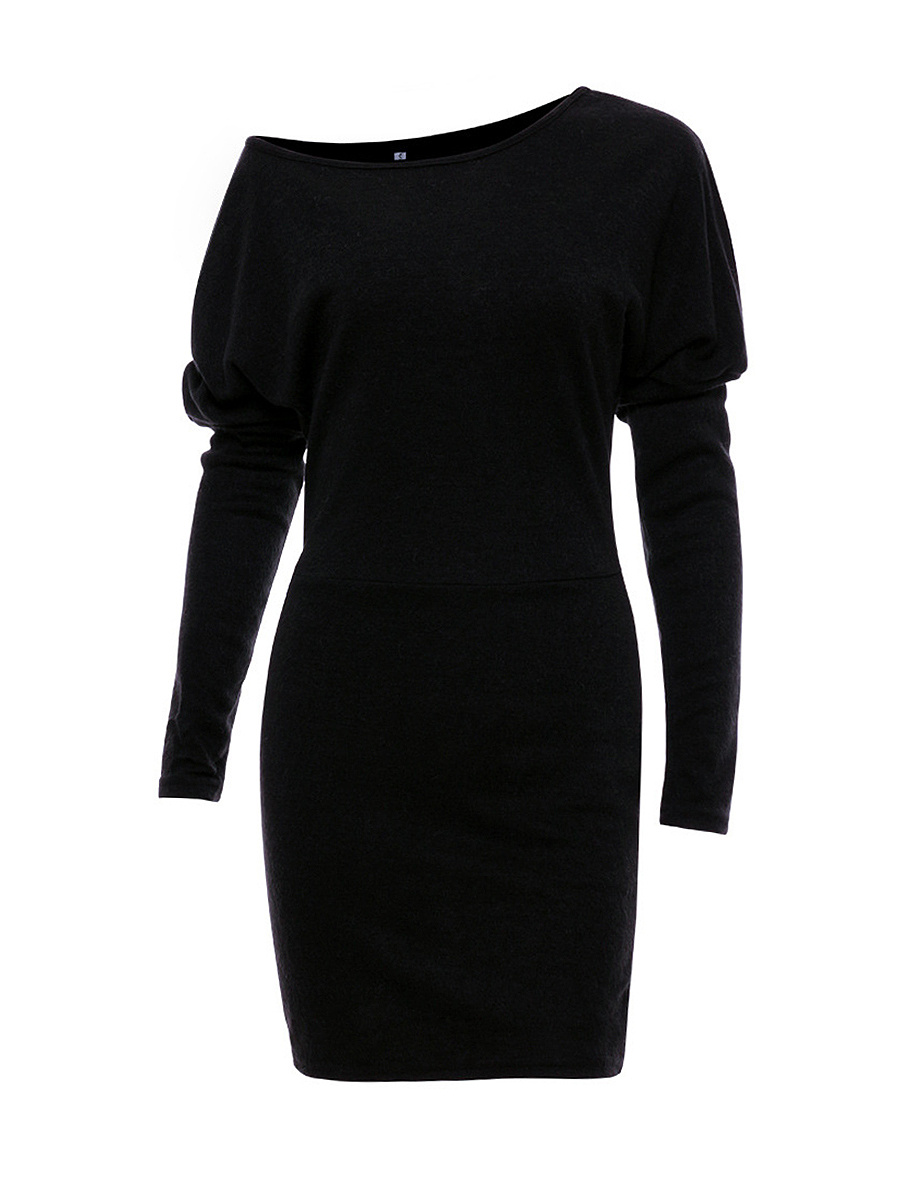One Shoulder Plain Batwing Sleeve Knitted Dress