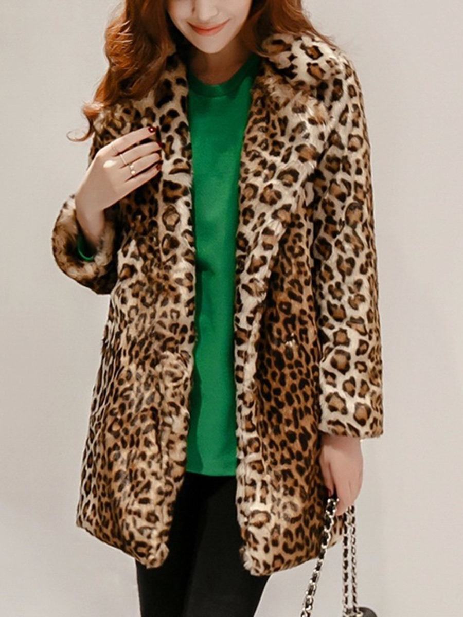 slit pocket leopard date vacation winter mature style national Lapel Leopard Pocket Faux Fur Coat