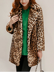 Lapel Leopard Pocket Faux Fur Coat