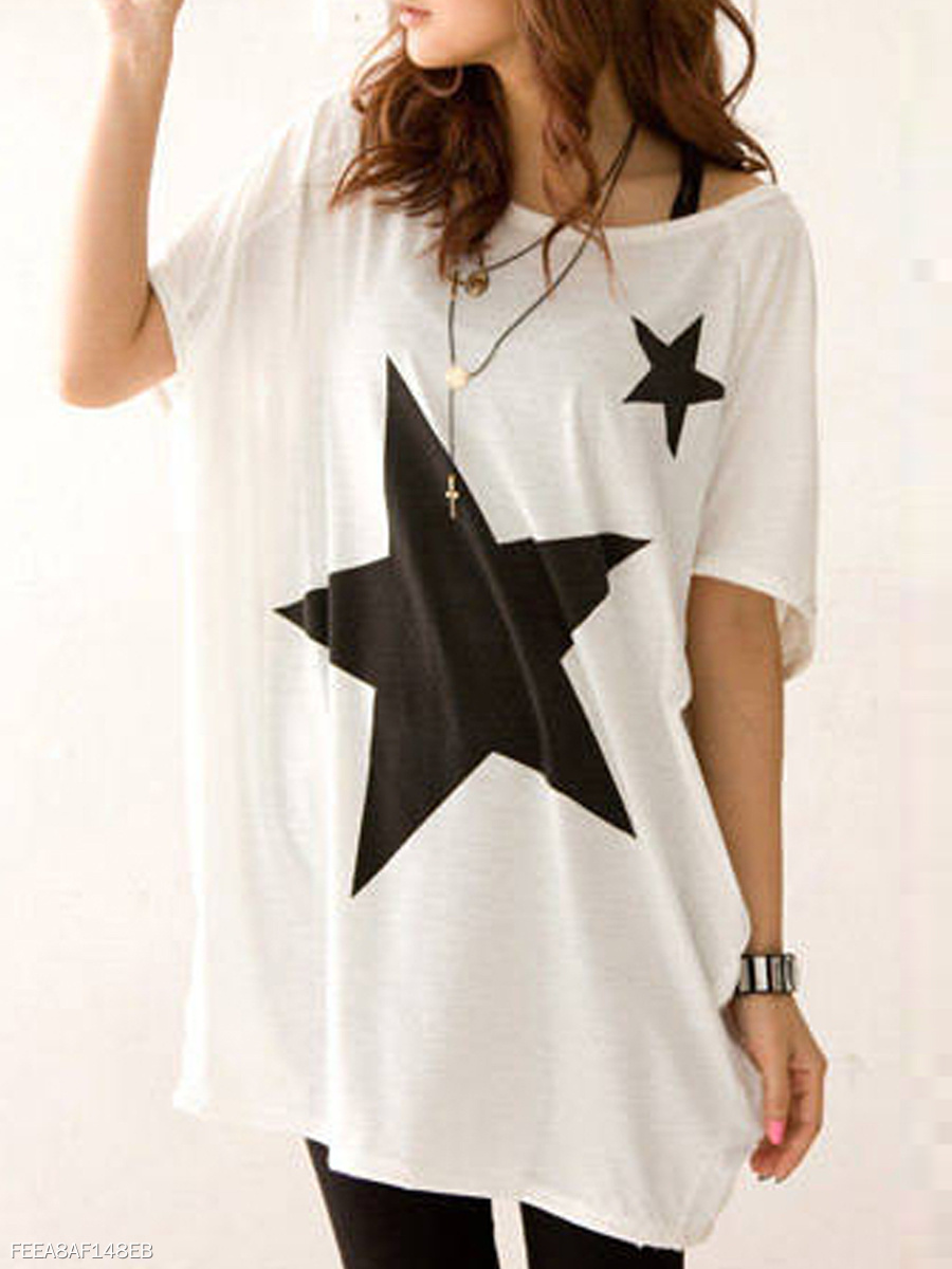 Summer  Cotton  Women  Round Neck  Star Short Sleeve T-Shirts