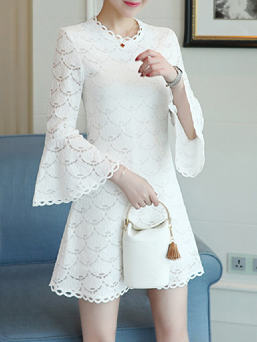 Bell Sleeve Plain Lace Skater Dress