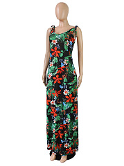 Round Neck  Backless  Floral Printed Plus Size Midi & Maxi Dresses