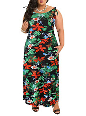 Round Neck  Backless  Floral Printed Plus Size Midi  Maxi Dresses