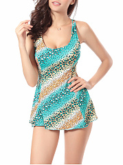 Animal Printed Skirted Scoop Neck One Piece
