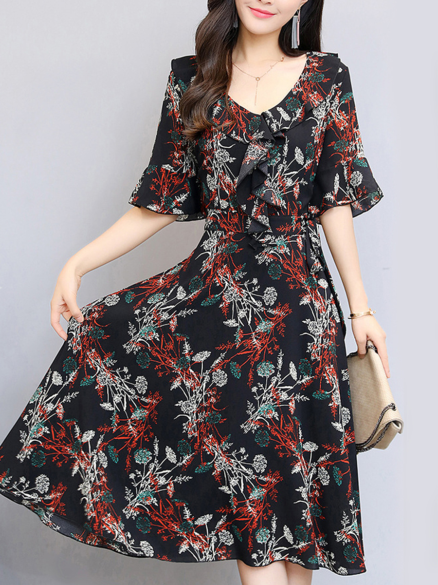 V-Neck Bell Sleeve Ruffle Trim Printed Chiffon Maxi Dress