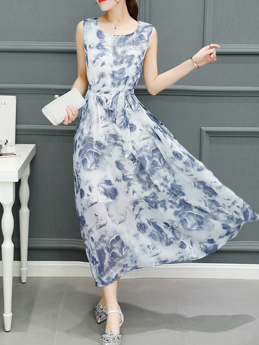 Round Neck Abstract Print Bowknot Chiffon Maxi Dress