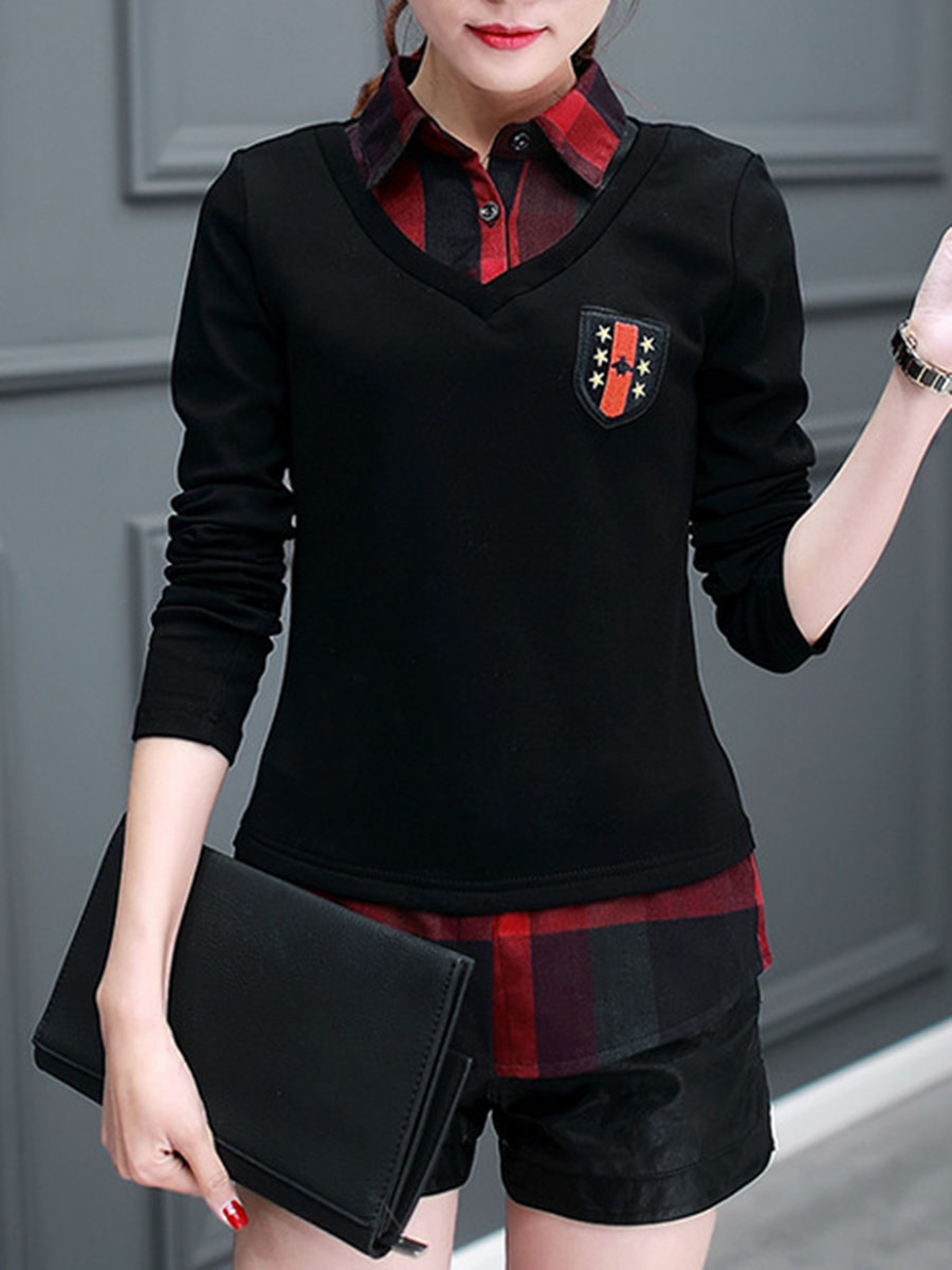 casual autumn V Neck  Single Breasted  Checkered Blouses