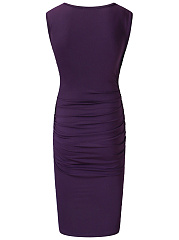 V-Neck Plain Ruched Bodycon Dress