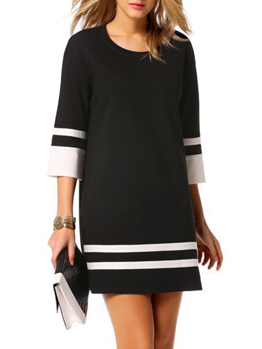 fashion color block striped date autumn spring shift Round Neck Color Block Striped Shift Dress