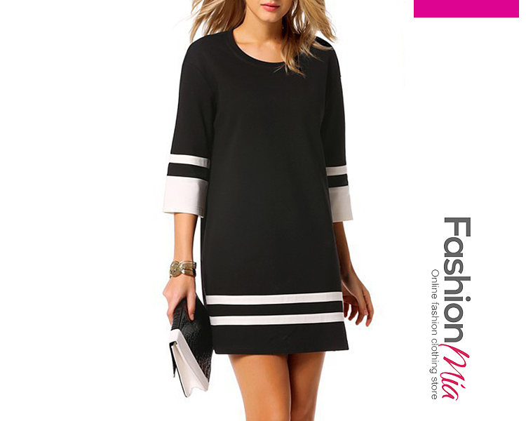 thickness:regular, brand_name:fashionmia, style:fashion, material:blend, collar&neckline:round neck, sleeve:three-quarter sleeve, length:mini, occasion:date, season:autumn*spring, dress_silhouette:shift, package_included:dress*1, length:78.5,shoulder:46.5,sleeve length:35,bust:98,
