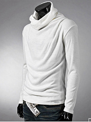 High Neck  Plain Men T-Shirt