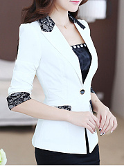 Notch Lapel  Patchwork  Color Block Blazer